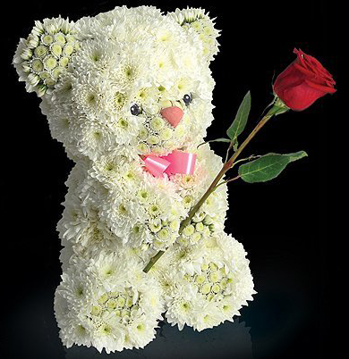Медведь из живых цветов хризантем