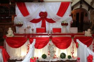 Оформление свадебного стола в красном цвете