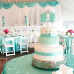 бирюзовое оформление свадебного торта