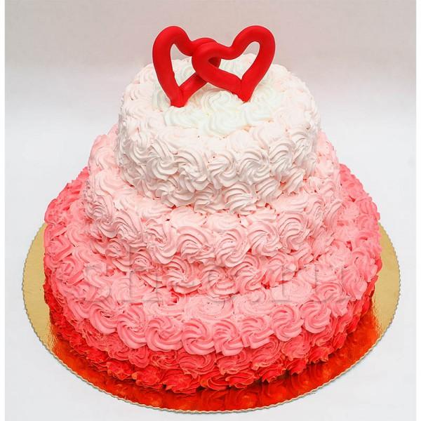 Свадебный торт в красном цвете