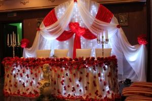 Оформление свадебного стола для молодожен