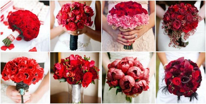 Свадебные букеты в красном цвете