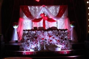 Декор свадебного стола для молодожен красном цвете