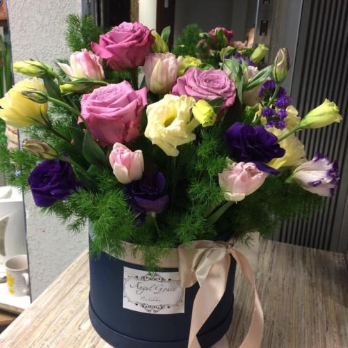 Шляпная коробка с цветами №06